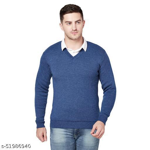 Grest Royal Blue Woolen Men's Sweater
