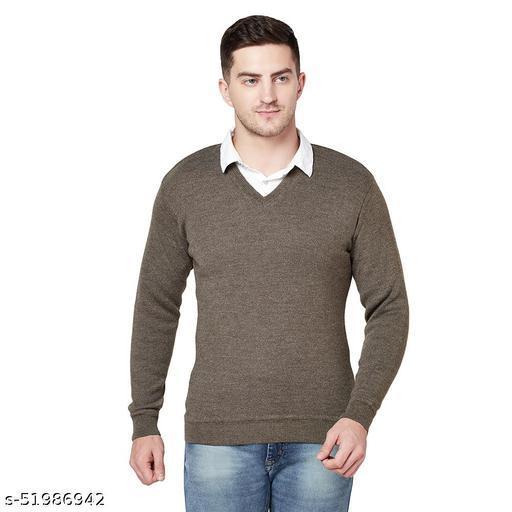 Grest Brown Woolen Men's Sweater