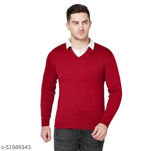 Grest Maroon Woolen Men's Sweater