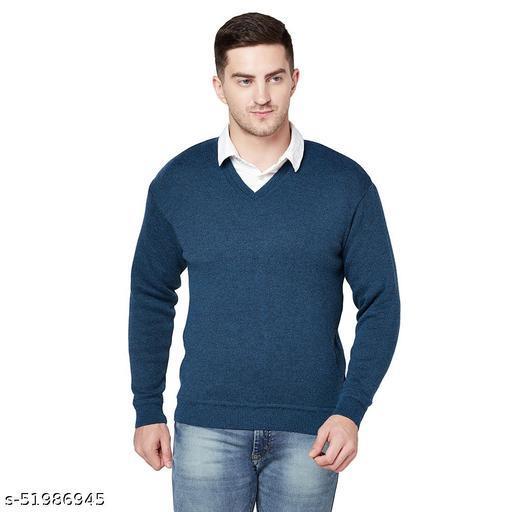Grest Blue Woolen Men's Sweater