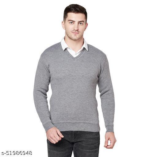 Grest Grey Woolen Men's Sweater
