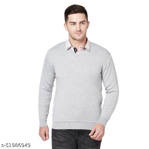 Grest Light Grey Woolen Men's Sweater