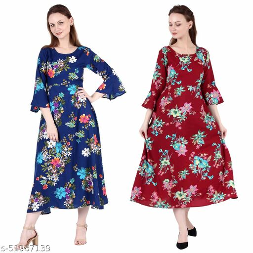 Giggles Creations A Line Dress with Inner Cotton Lining Royal Blue Printed and Maroon Prined Pack of 2