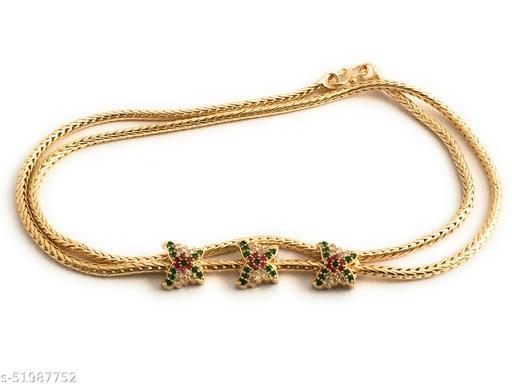 DFJ mugappu 1 gram chain 3 butterfly Ruby/ green/ AD for women