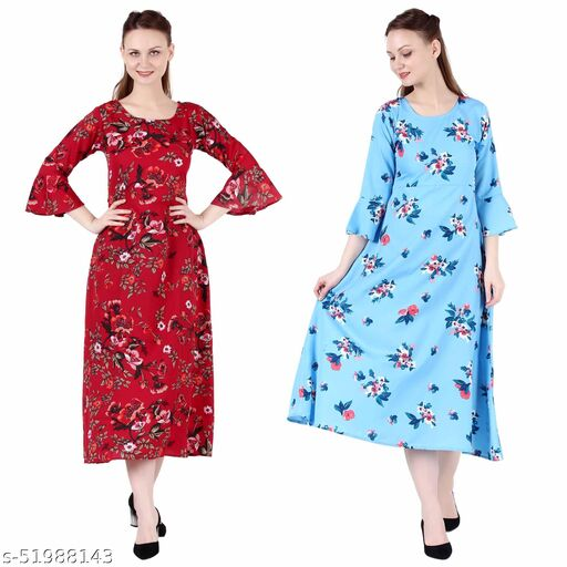 Giggles Creations A Line Dress with Inner Cotton Lining Red Prined and Sky Blue Printed Pack of 2