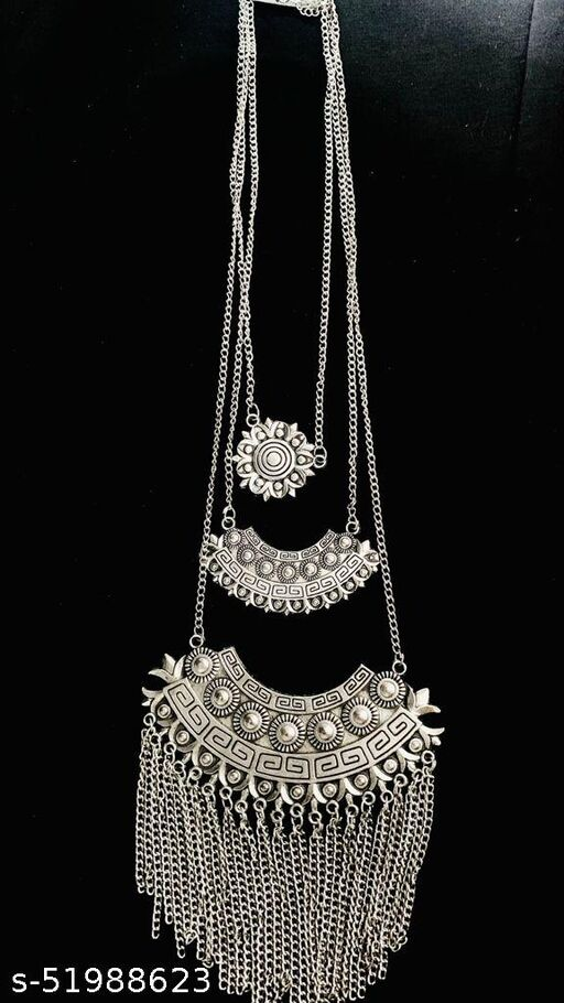 Oxidized German Silver Gypsy look Tribal Antique Boho Afgani necklace