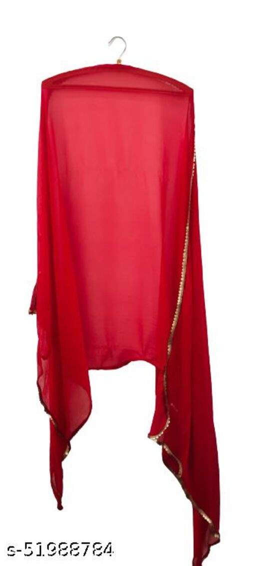 Attractive Latet Womens chifforn red color dupatta with golden lace.