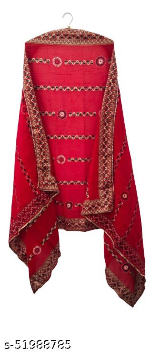 Attractve latest Womens cotton malmal dupatta Floral print with gotta lace on border.