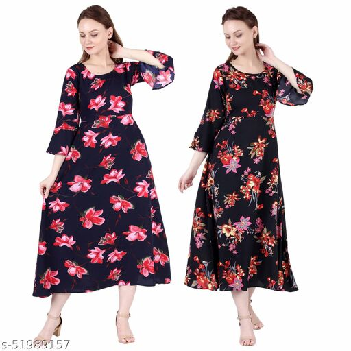 Giggles Creations A Line Dress with Inner Cotton Lining Blue Pink Flower Printed and Black Silver Pack of 2