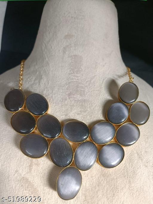 Supriya Brass Grey Necklace With Monalisa Stone for Women's