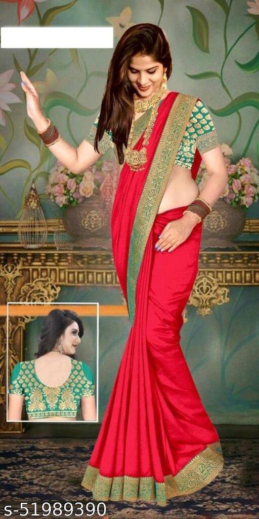 Akki Creation Women's Vichitra fabric Wedding Saree red color
