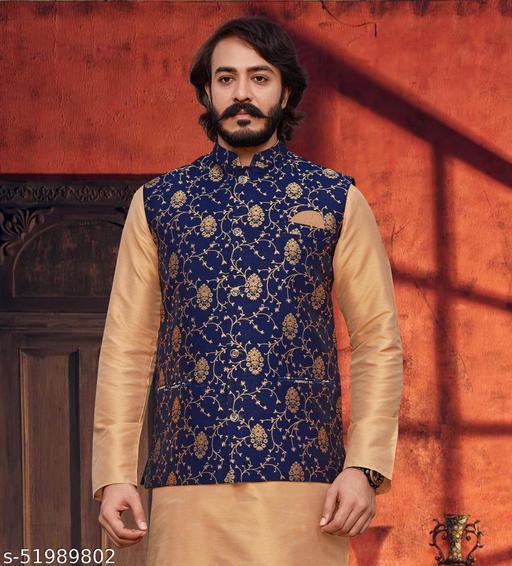 Men's Traditional Stitched Jacquard Nehru Jacket