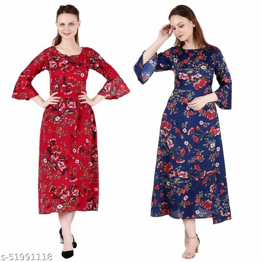Giggles Creations A Line Dress with Inner Cotton Lining Red Prined and Dark Nevy Printed Pack of 2