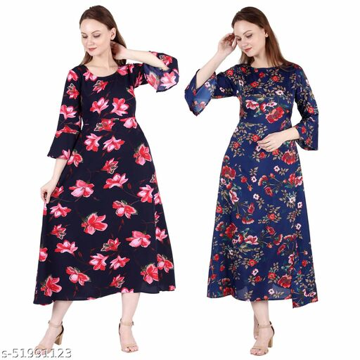 Giggles Creations A Line Dress with Inner Cotton Lining Blue Pink Flower Printed and Dark Nevy Printed Pack of 2