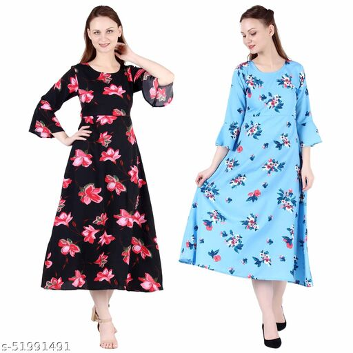 Giggles Creations A Line Dress with Inner Cotton Lining Black Pink Flower Printed and Sky Blue Printed Pack of 2