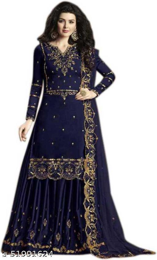 Diyan Fashion Georgette Self Design Kurta & Palazzo Material  (Semi Stitched)
