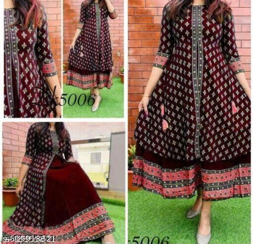 Trendy A-line double layered kurti