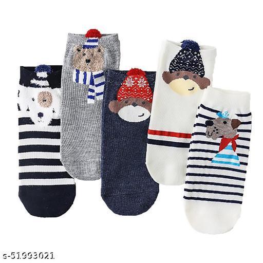 Missby Cute Animal Printed Cotton Anke Socks (Bear)