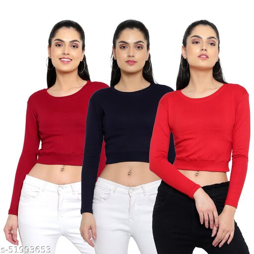 DIAZ full sleeves Crop Top for girls/women combo pack of 3