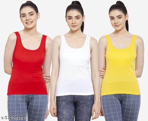 Women White Red Yellow Cotton Rib U-Neck Tank top Pack of 3