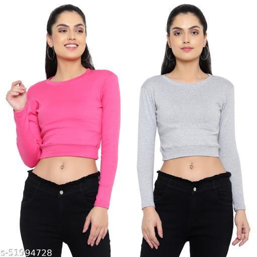 DIAZ full sleeves Crop Top for girls/women combo pack of 2