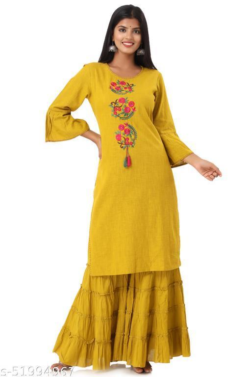Yellow Cotton Embroidered Kurta