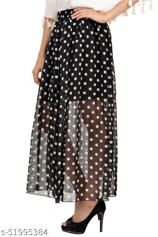 Black Long Skirt with white Dot