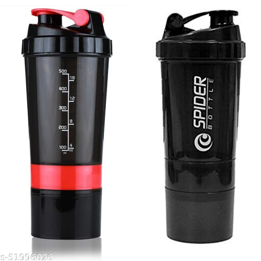Jack Klein Unisex Spider Gym Sipper Protein Shaker Plastic Water Bottle 500 ML Sipper Combo Pack of 2 (Black & Red)