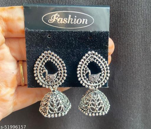 Klenot Oxidised Silver Peacock Drop Jhumki Earrings