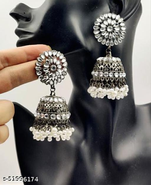 Klenot Flower Design Pearl Drop Jhumki Earrings