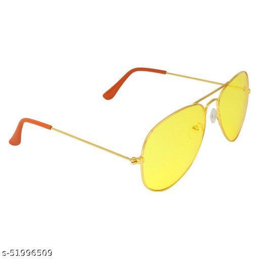 Alfalah Yellow Aviator Metal Sunglasses For Men & Women