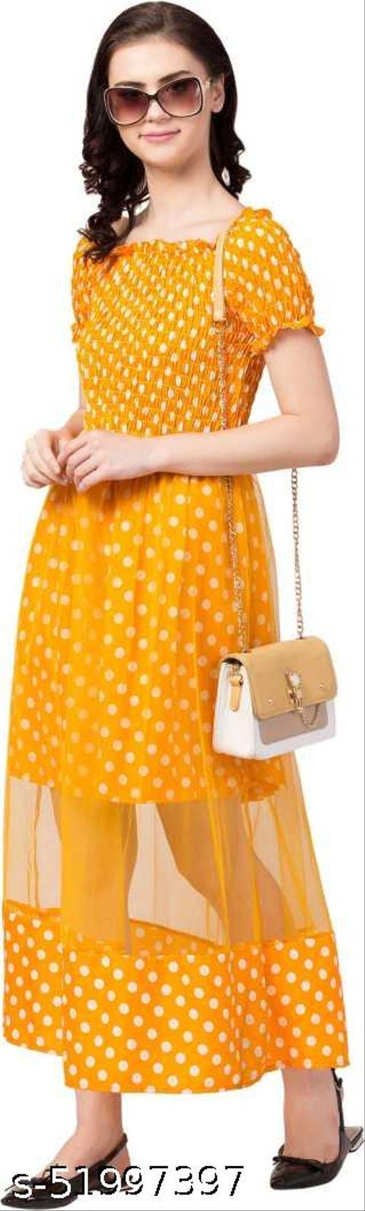 NA GROOMING HUB Trendy Attractive Polka Dot Yellow Long Dress