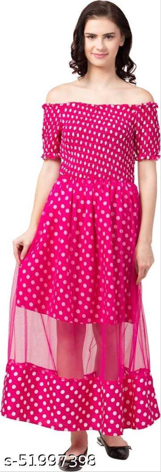 NA GROOMING HUB Trendy Attractive Polka Dot Pink Long Dress