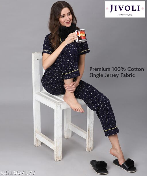 Jivoli Women's Premium Cotton Hoisery Blue Nightsuit