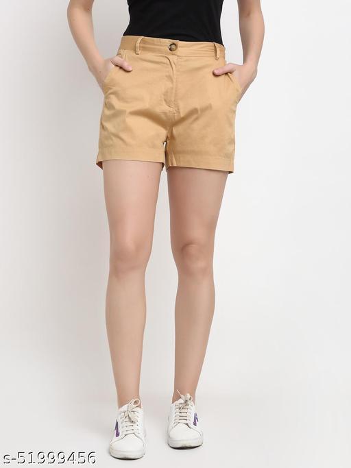 BRINNS Women's Beige Solid Color Regular Cotton Short