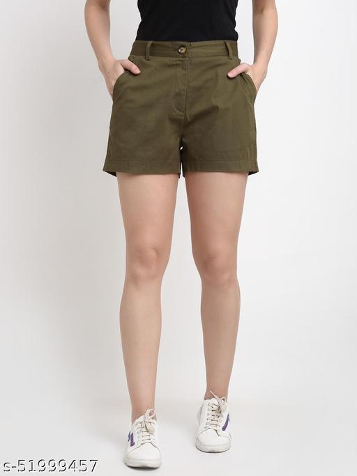 BRINNS Women's Olive Solid Color Regular Cotton Short