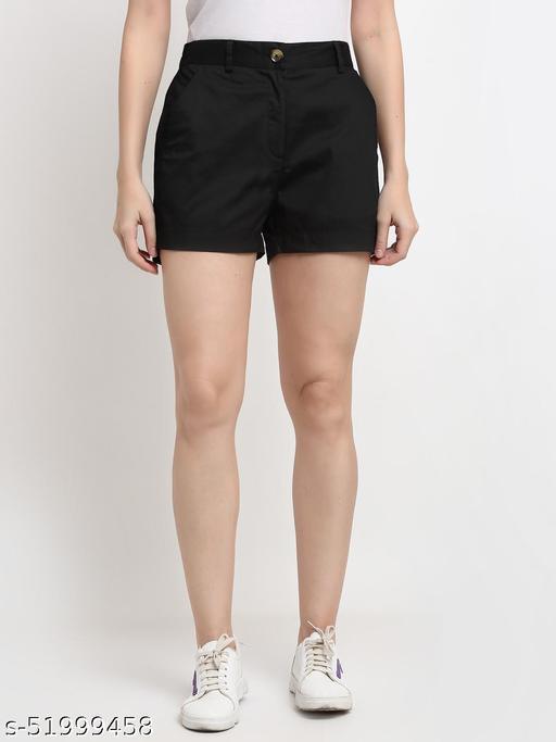 BRINNS Women's Black Solid Color Regular Cotton Short