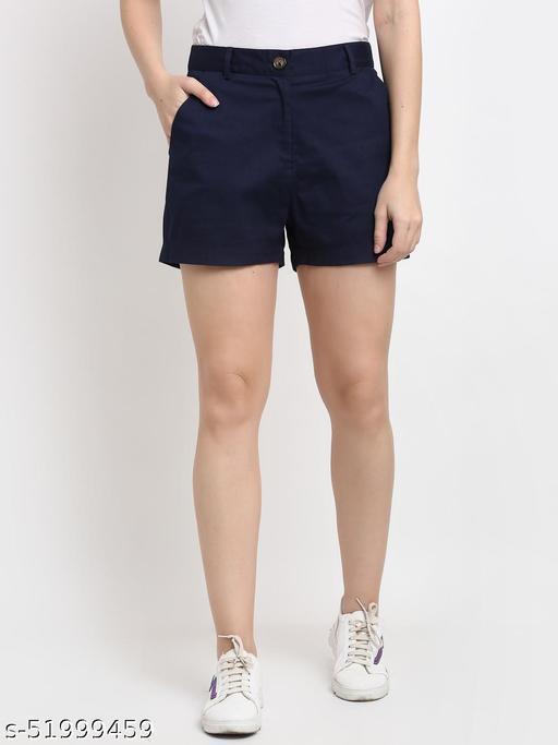 BRINNS Women's Navy Blue Solid Color Regular Cotton Short