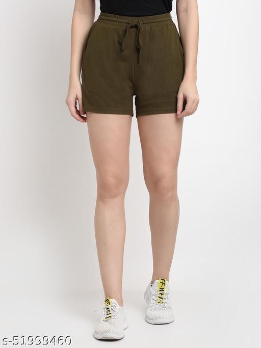 BRINNS Women's Olive Solid Color Pure Cotton Regular Short