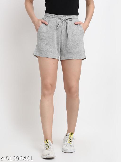 BRINNS Women's Light Grey Solid Color Pure Cotton Regular Short