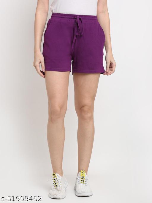 BRINNS Women's Purple Solid Color Pure Cotton Regular Short