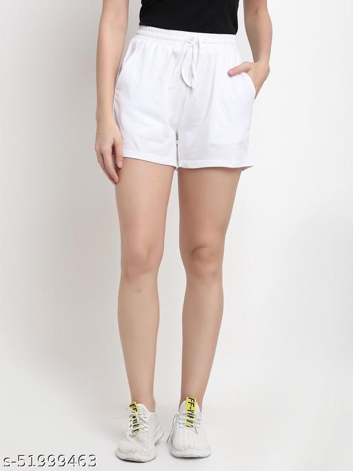 BRINNS Women's White Solid Color Pure Cotton Regular Short