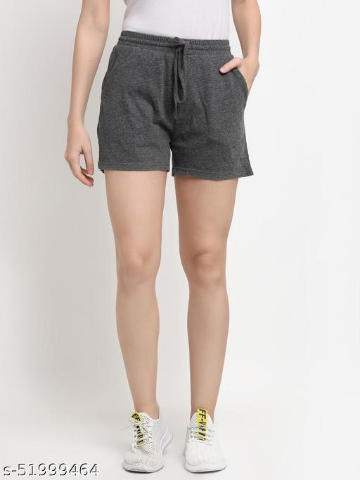 BRINNS Women's Dark Grey Solid Color Pure Cotton Regular Short