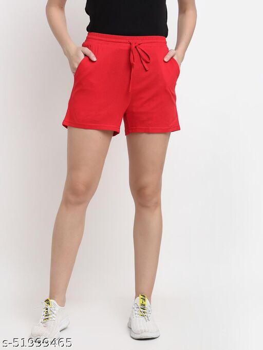 BRINNS Women's Red Solid Color Pure Cotton Regular Short
