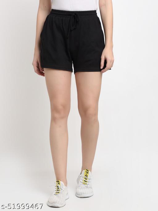 BRINNS Women's Black Solid Color Pure Cotton Regular Short