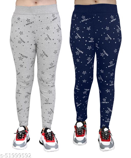 Women's Stretchable Selfie Star Print Jeggings Pack Of 2(Size:-26 to 36)