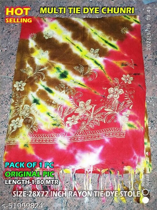 Silky Rayon Cotton Dupatta Size-28x72 inches, Floroscent in Color, Clearance SALE, Hurry Up !!!
