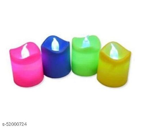 colorfull glowing candles for festivals pack of 4