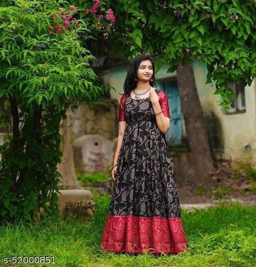Black Jaquard Designer Gown
