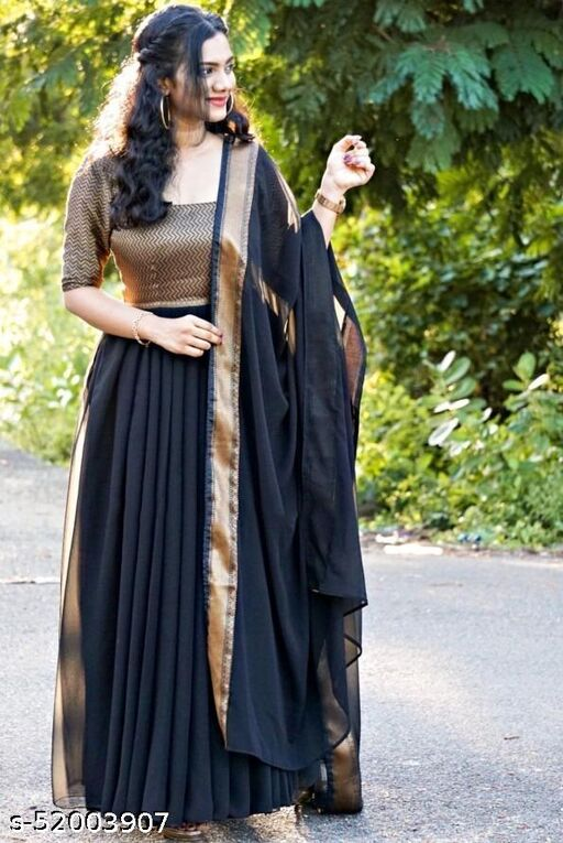 Black Jaquard Designer Designer  Gown With Dupatta